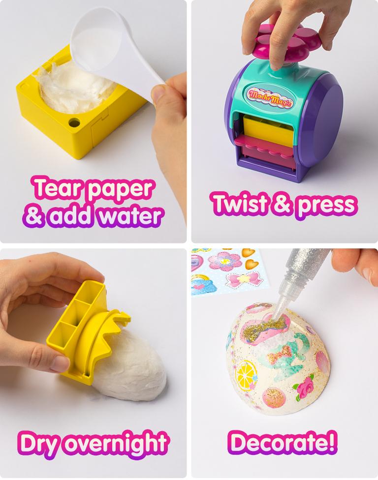 Tear water & add paper. Twist & press. Dry overnight. Decorate!